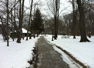 Winter path through a Connecticut Park