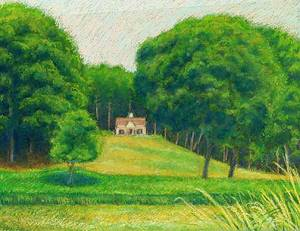 House in the Distance Pastel Painting