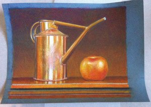 Apple and watering can pastel on blue paper