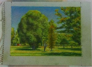 Landscape on light green paper