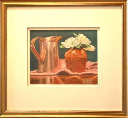 Camelias, 10x8, pastel on paper by P.E. Creedon