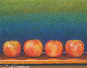 pastel of four apples