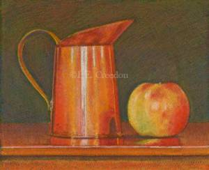 Copper pitcher and Apple, 10 in wide by 8 in high, P.E. Creedon, pastel on paper