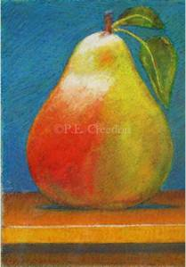 "Pear by P. E. Creedon, 5""w x 7""h, pastel on paper"