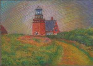 Red Lighthouse, P.E. Creedon, 7 x 5, pastel on paper