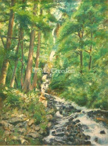 Oregon Falls, 8-1/2w x 11-3/4h, pastel on paper